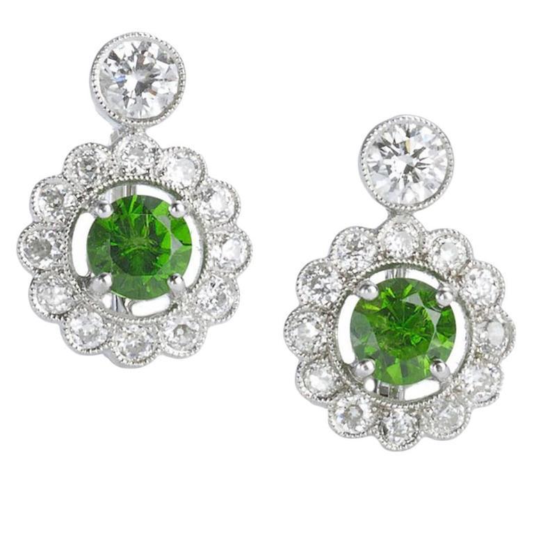 Demantoid Garnet Diamond Gold Platinum Cer Earrings For