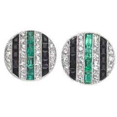 Black Onyx Emerald Diamond Gold Stud Earrings