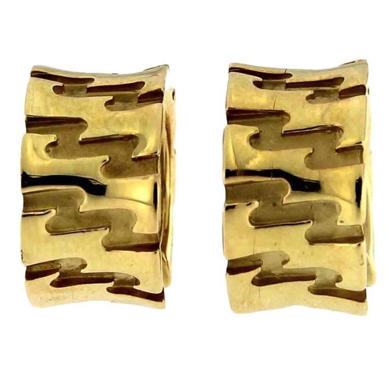 Jona Zig Zag 18k Yellow Gold Hoop Earrings