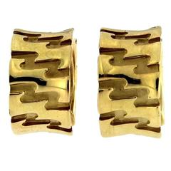 Jona Zig Zag 18 Karat Yellow Gold Hoop Earrings