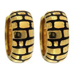 Jona Enamel Gold Hoop Earrings