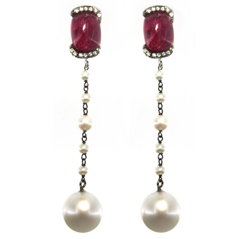 Jona Ruby South Sea Pearl White Diamond 18 Karat White Gold Dangle Earrings