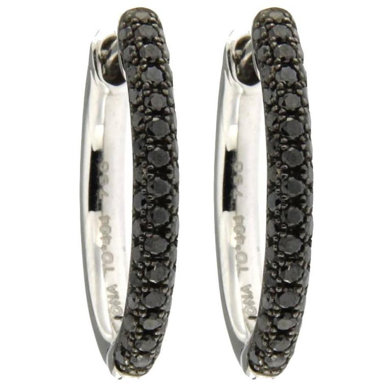 Jona Black Diamond 18k White Gold Hoop Earrings