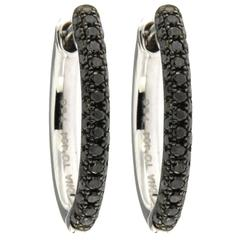 Jona Black Diamond 18 Karat White Gold Hoop Earrings