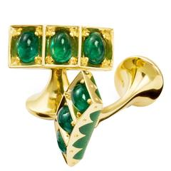 Moghul Cabochon Emerald Gold Cufflinks