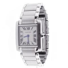Cartier Lady's Stainless Steel Tank Française Quartz Wristwatch Ref W51008Q3