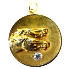 Awesome Art Deco Diamond Gold 2 Horse Head Locket Pendant Charm