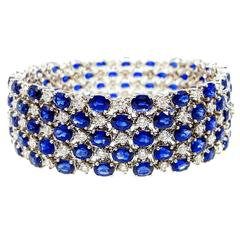 Sapphire Diamond Gold Five Row Bracelet