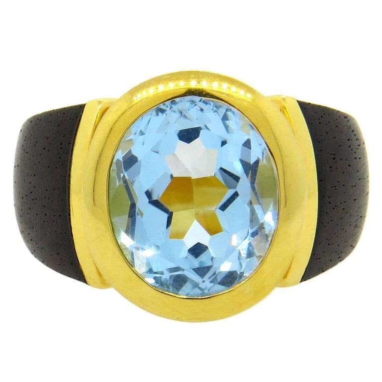 Lotus Arts de Vivre Wood Blue Topaz Gold Ring