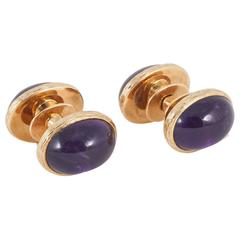 Cabochon Shaped Large Amethyst Gold Suction Fit Design Cufflinks