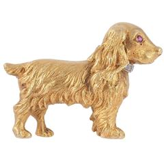 Ruby Diamond Gold Spaniel Dog Brooch