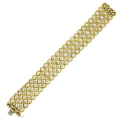 Classic Fine Diamond Gold Wide Bracelet