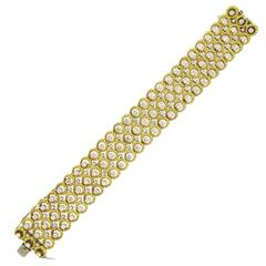 Classic Fine Diamond Gold Wide Bracelet