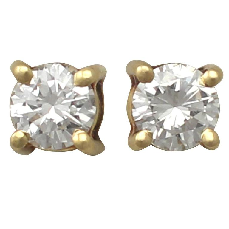 0.50Ct Diamond and 18k Yellow Gold Stud Earrings - Vintage Circa 1980