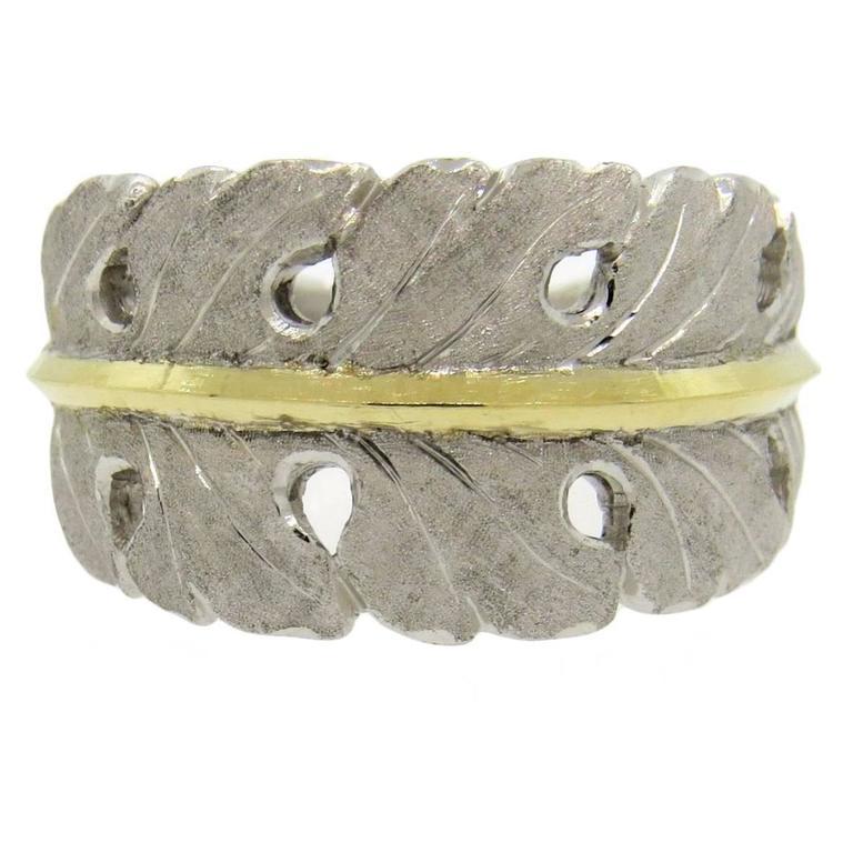 Buccellati Silver Gold Leaf Motif Split Shank Ring