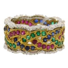 Buccellati Sapphire Emerald Ruby Gold Eternity Band Ring