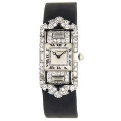 Art Deco Cartier Lady's  Diamond Onyx Platinum Wristwatch