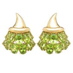 Verdura Peridot Gold Ear Clip Earrings