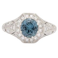 GIA 1.53 Carat GIA Cert Gray Blue Sapphire Diamond Platinum Ring