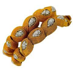 David Webb Pair of Matching Diamond Gold Platinum Bracelets