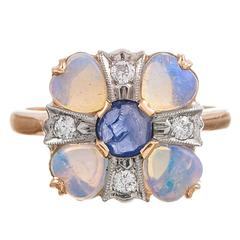 Circa 1930s American Made Opal Sapphire Diamond Gold Ring