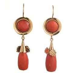 Early 1900s Coral Gold Drop Earrings