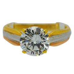 Cartier 2.10 Carat GIA Cert Solitaire Diamond Tricolor Gold Ring