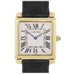 Cartier Yellow Gold Tank 1630 Obus Quartz Wristwatch