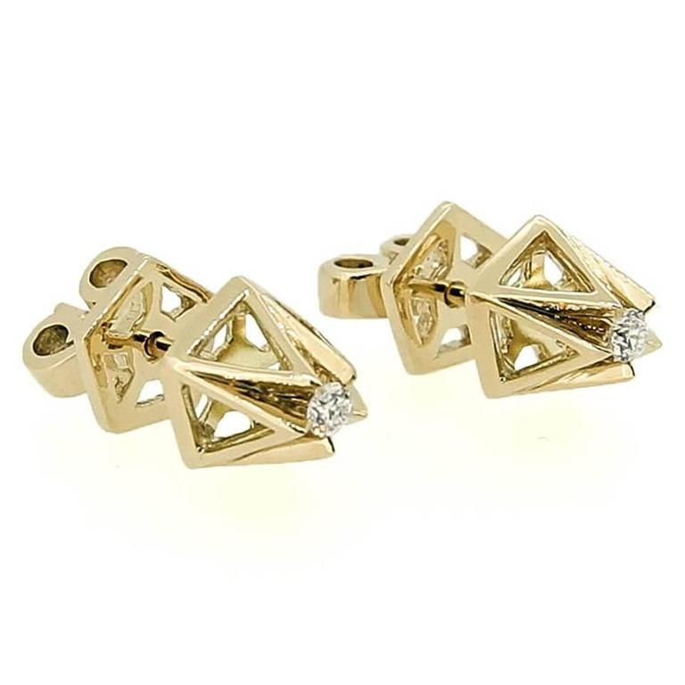Pyramid Diamond Gold Stud Earrings For Sale