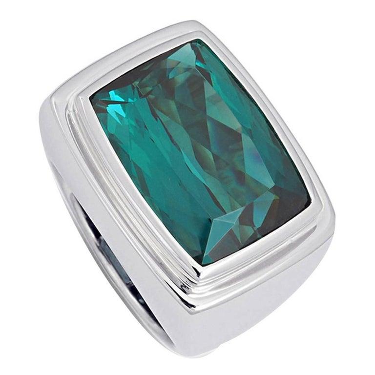 Colleen B. Rosenblat 14.45 Carat Indigolite Gold Ring For Sale