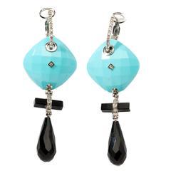 Italian Turquoise Onyx Diamonds Dangle Earrings