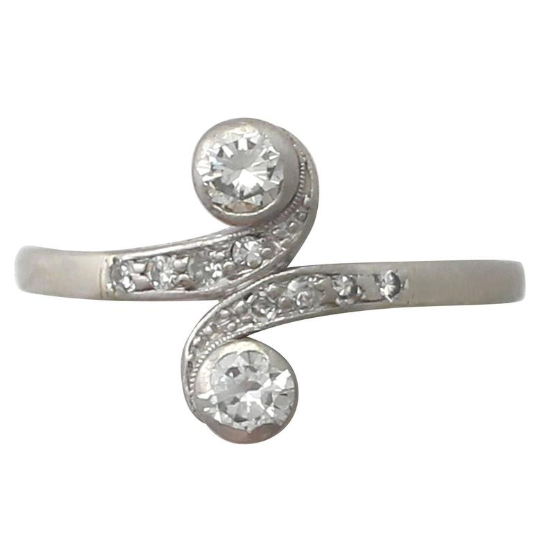 1920s Antique Diamond and White Gold Twist Ring
