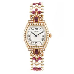 Cartier Lady's Yellow Gold Diamond Ruby Pearl Tortue Wristwatch