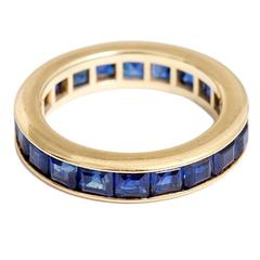 Beautiful Sapphire Gold Eternity Band Ring