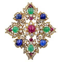 Van Cleef & Arpels Ruby Sapphire Emerald Diamond Gold Brooch/Pendant