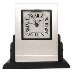 1990s Cartier Silver Plate Quartz Stone Set Desk Clock with Alarm