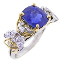 Tiffany & Co. Schlumberger Burma Unheated Sapphire Diamond Gold Two Bees Ring