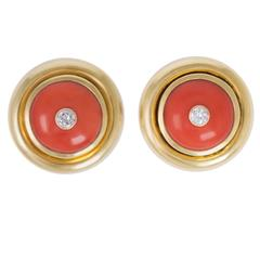 Tiffany & Co. Paloma Picasso Coral Diamond Gold Button Earrings
