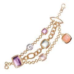 Valente Gemstone Diamond Gold Multi-Strand Bracelet