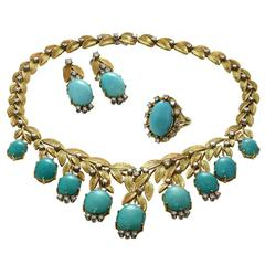1960s Turquoise Diamond Gold Necklace Earrings and Ring Suite