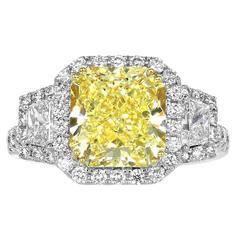 3.77 Carat Canary Diamond Gold Platinum Ring