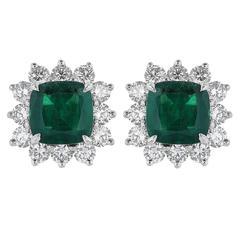 2.39 Carat Emerald Diamond Gold Cluster Earrings