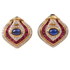 Ruby Sapphire Diamond Gold Clip On Earrings