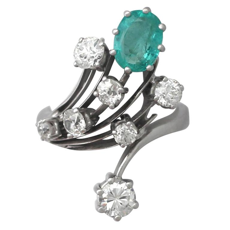 1950s 1.29 Carat Emerald and 2.02 Carat Diamond White Gold Cocktail Ring