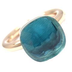 Pomellato Nudo Blue Topaz Two Color Gold Ring