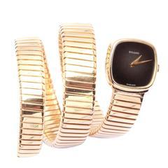 Bulgari Lady's Black Dial Tubogas Wristwatch