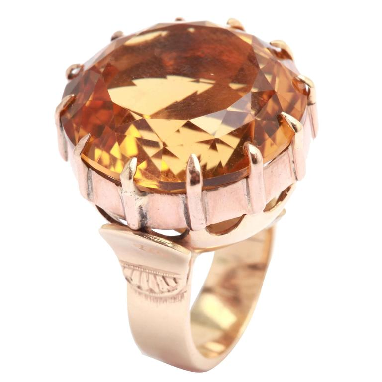 Retro Citrine Gold Ring
