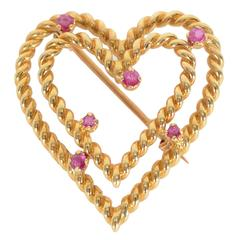 Tiffany & Co. Ruby Gold Heart Brooch