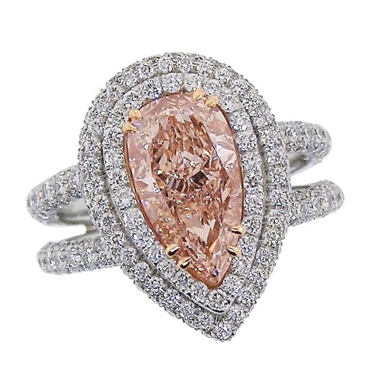 Pink Diamond Platinum Ring