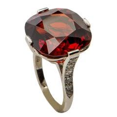 Collectors Gem Spessartite Garnet Diamond Platinum Ring